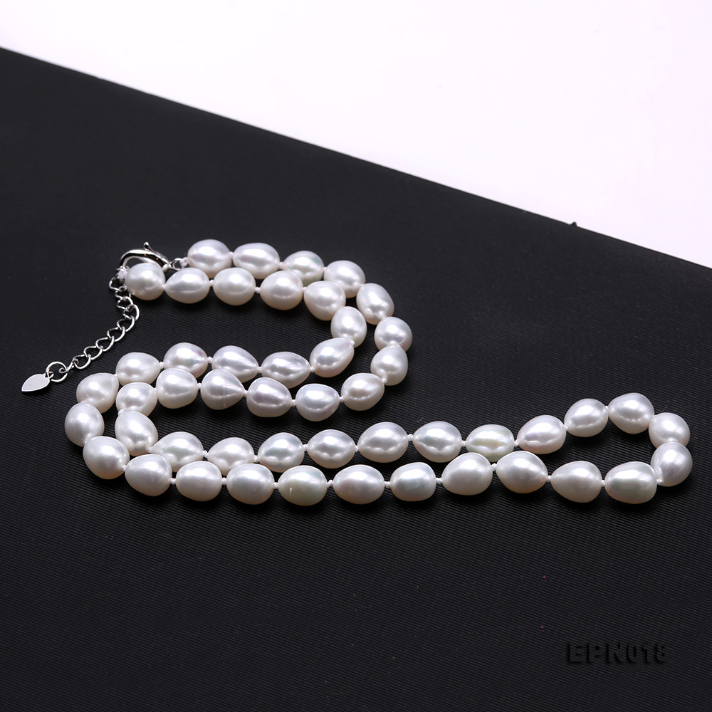 7.5-8.5mm Elliptical White Freshwater Pearl Necklace  big Image 5