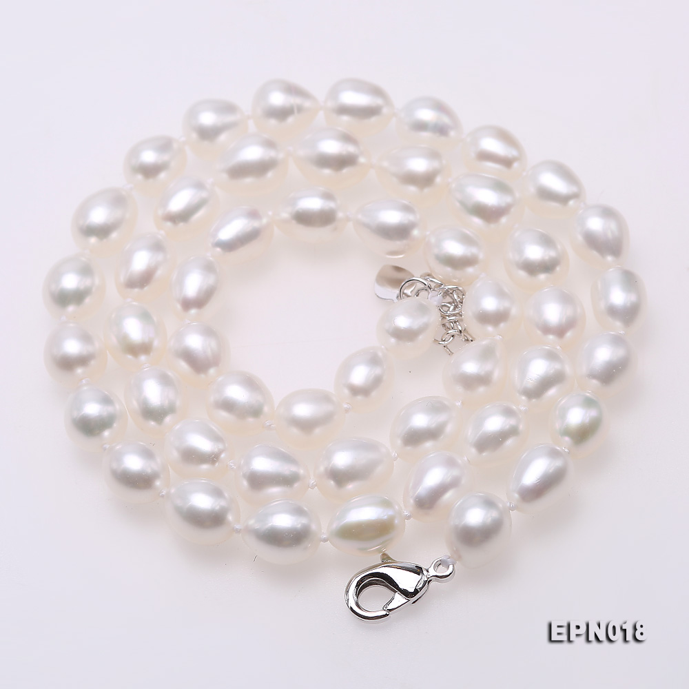 7.5-8.5mm Elliptical White Freshwater Pearl Necklace  big Image 6