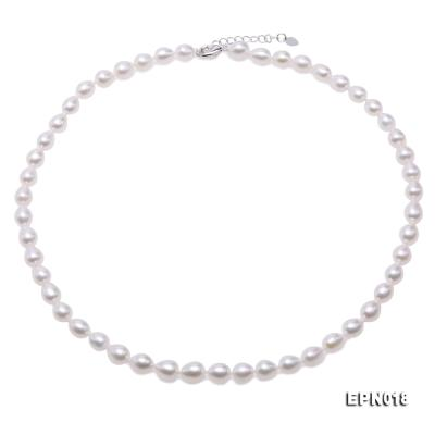 7.5-8.5mm Elliptical White Freshwater Pearl Necklace  EPN018 Image 1