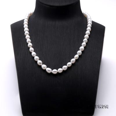 7.5-8.5mm Elliptical White Freshwater Pearl Necklace  EPN018 Image 2