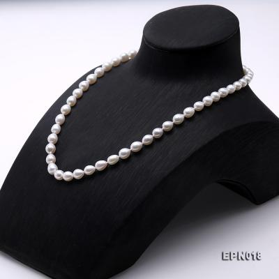 7.5-8.5mm Elliptical White Freshwater Pearl Necklace  EPN018 Image 3