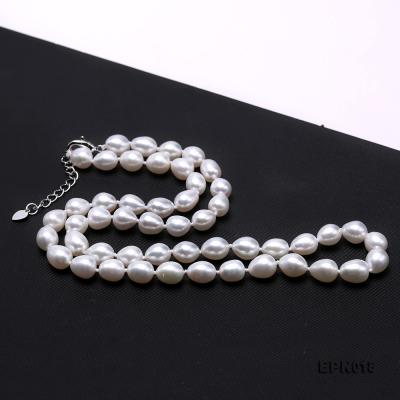 7.5-8.5mm Elliptical White Freshwater Pearl Necklace  EPN018 Image 5
