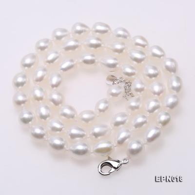 7.5-8.5mm Elliptical White Freshwater Pearl Necklace  EPN018 Image 6