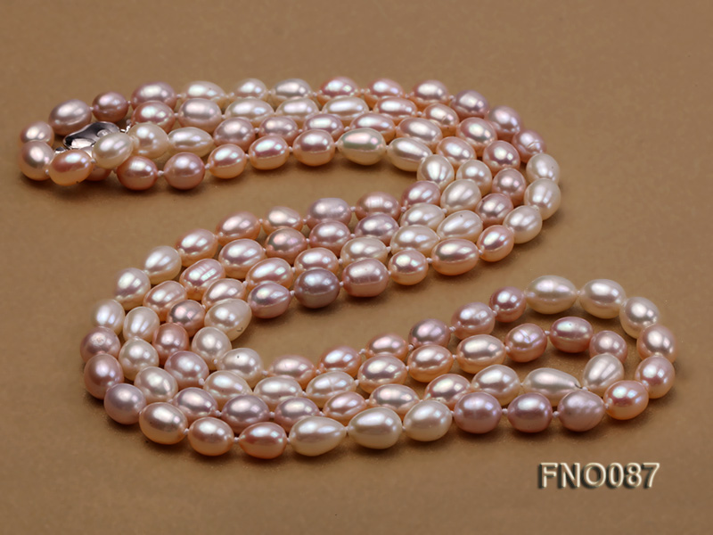 8-9mm natural white pink and lavender rice freshwater pearl necklace big Image 4