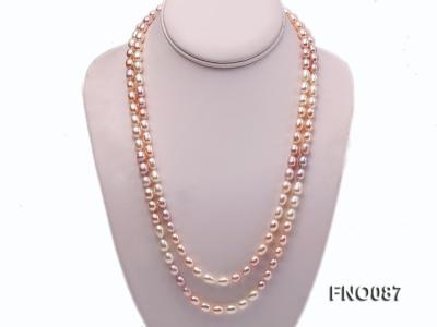 8-9mm natural white pink and lavender rice freshwater pearl necklace FNO087 Image 1