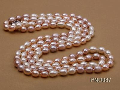 8-9mm natural white pink and lavender rice freshwater pearl necklace FNO087 Image 4
