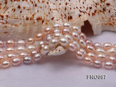 8-9mm natural white pink and lavender rice freshwater pearl necklace FNO087 Image 5