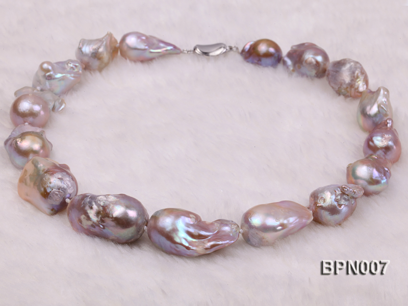 Classic 15x30-18.5x35mm Lavender Baroque Freshwater Pearl Necklace big Image 4