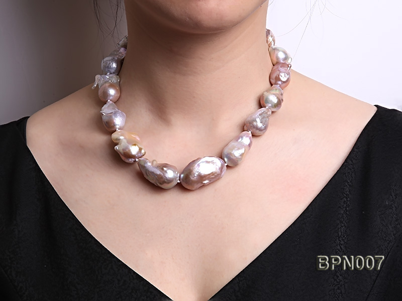 Classic 15x30-18.5x35mm Lavender Baroque Freshwater Pearl Necklace big Image 7