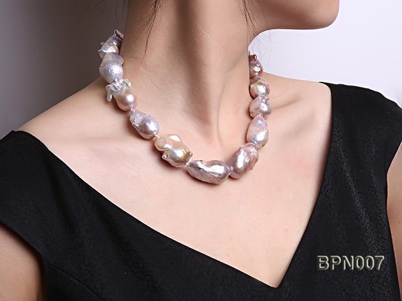 Classic 15x30-18.5x35mm Lavender Baroque Freshwater Pearl Necklace big Image 8