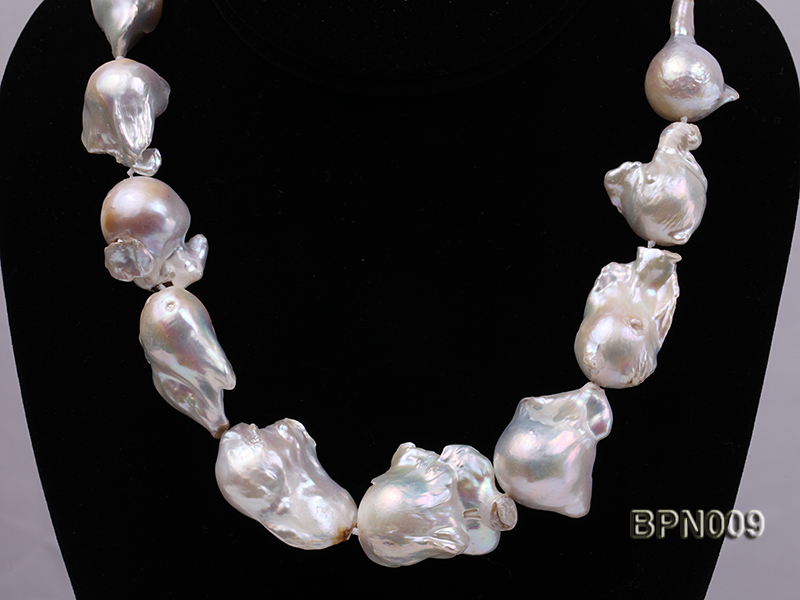 Classic 18x21-25x35mm White Baroque Freshwater Pearl Necklace big Image 2