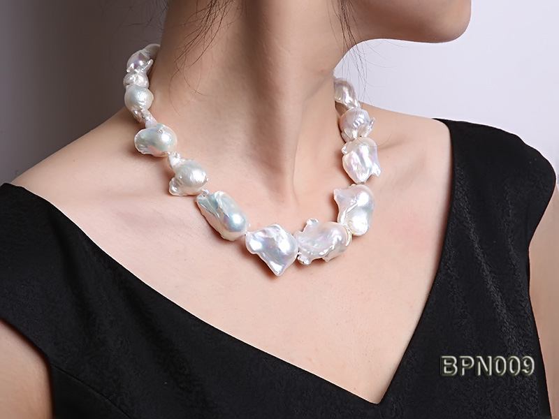 Classic 18x21-25x35mm White Baroque Freshwater Pearl Necklace big Image 7