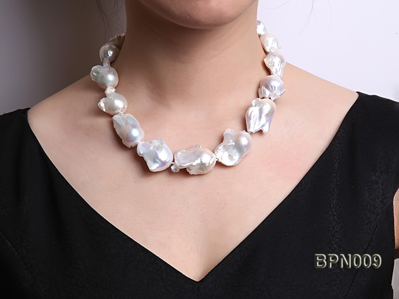 Classic 18x21-25x35mm White Baroque Freshwater Pearl Necklace big Image 8