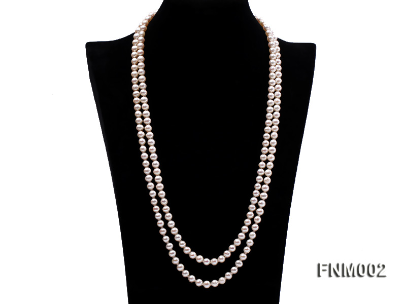 Two-strand 7-7.5mm white round freshwater pearl necklace with seashell clasp big Image 1