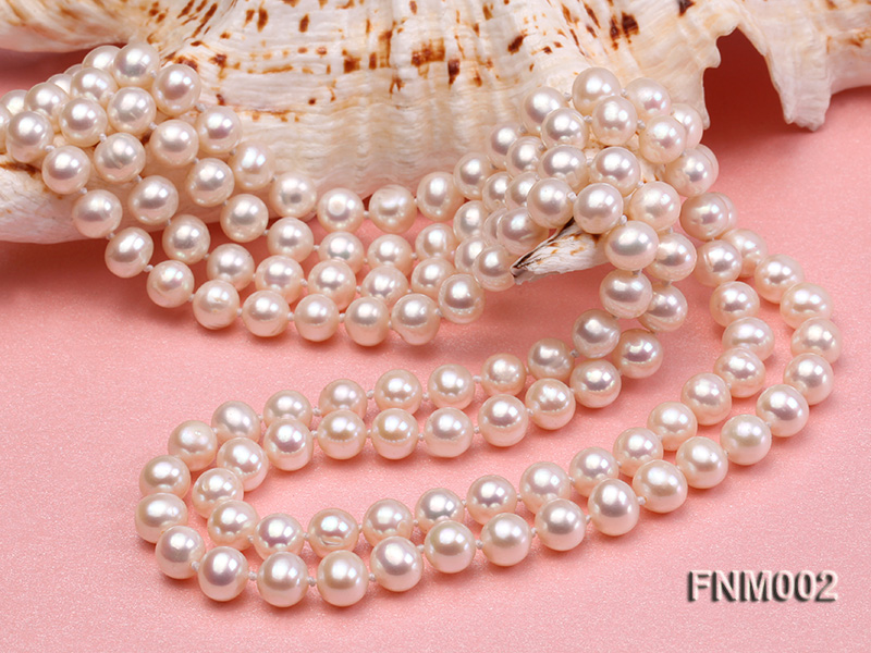 Two-strand 7-7.5mm white round freshwater pearl necklace with seashell clasp big Image 3