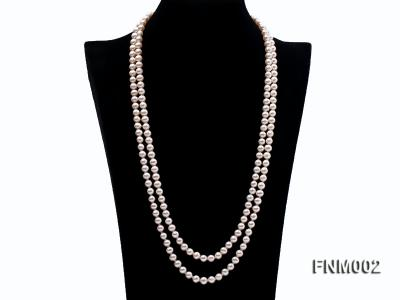 Two-strand 7-7.5mm white round freshwater pearl necklace with seashell clasp FNM002 Image 1