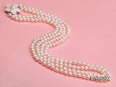 Two-strand 7-7.5mm white round freshwater pearl necklace with seashell clasp FNM002 Image 2