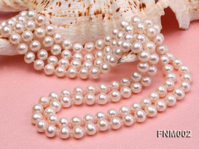 Two-strand 7-7.5mm white round freshwater pearl necklace with seashell clasp FNM002 Image 3