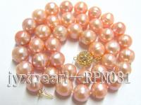 Classic 10-11mm Pink Round Cultured Freshwater Pearl Necklace RPN031