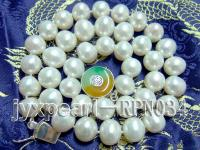 10-12mm Classic White Round Feshwater Pearl Necklace with Jade Clasp RPN034
