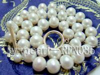 Super-size 11-13mm Classic White Round Freshwater Pearl Necklace with 14k Gold Clasp RPN035