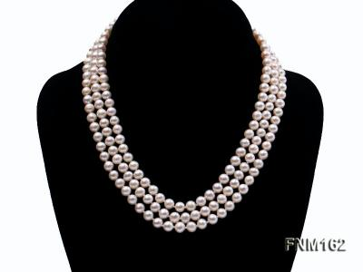 3 strand white flat freshwater pearl necklace FNM162 Image 1