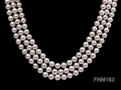 3 strand white flat freshwater pearl necklace FNM162 Image 2