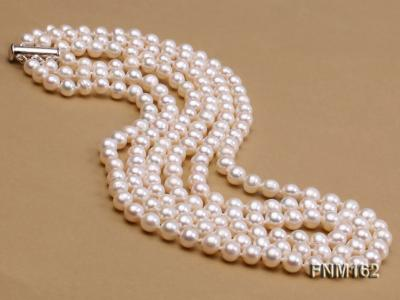 3 strand white flat freshwater pearl necklace FNM162 Image 3