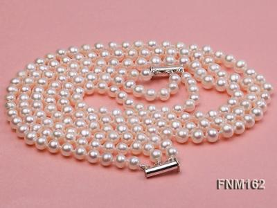 3 strand white flat freshwater pearl necklace FNM162 Image 4