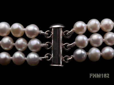 3 strand white flat freshwater pearl necklace FNM162 Image 6