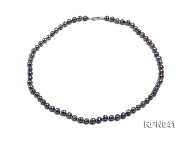 6.5-7mm Round Black Freshwater Pearl Necklace with Sterling Silver Clasp big Image 1