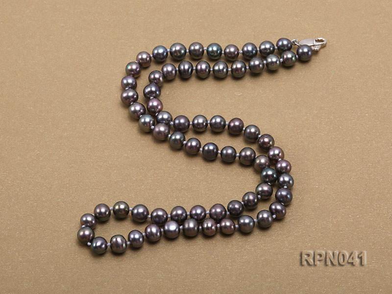 6.5-7mm Round Black Freshwater Pearl Necklace with Sterling Silver Clasp big Image 2