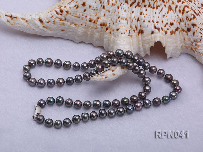 6.5-7mm Round Black Freshwater Pearl Necklace with Sterling Silver Clasp big Image 3