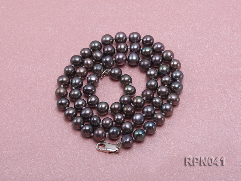 6.5-7mm Round Black Freshwater Pearl Necklace with Sterling Silver Clasp big Image 4
