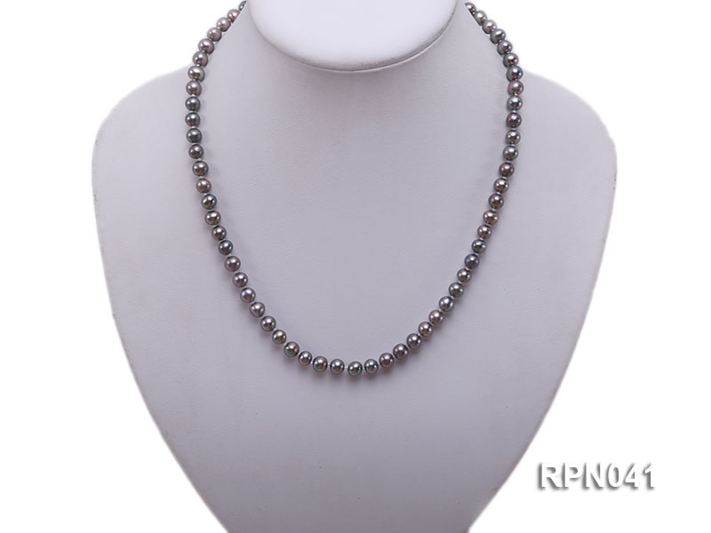 6.5-7mm Round Black Freshwater Pearl Necklace with Sterling Silver Clasp big Image 5