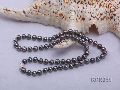 6.5-7mm Round Black Freshwater Pearl Necklace with Sterling Silver Clasp RPN041 Image 3