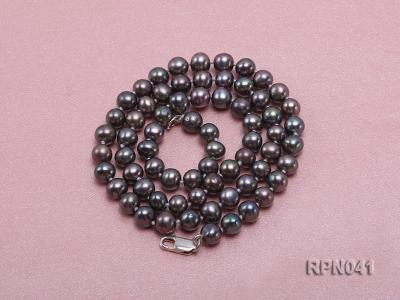 6.5-7mm Round Black Freshwater Pearl Necklace with Sterling Silver Clasp RPN041 Image 4