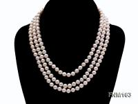 3 strand 7-8mm white flat freshwater pearl necklace  FNM163
