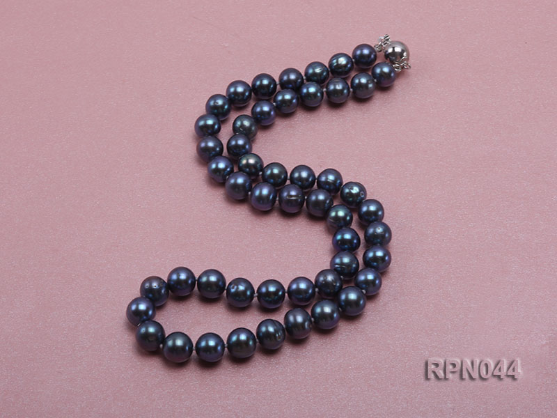 10mm Cultured Black Pearl Necklace with Sterling Silver Clasp big Image 5