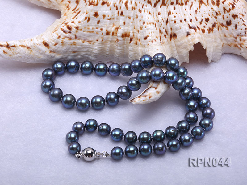 10mm Cultured Black Pearl Necklace with Sterling Silver Clasp big Image 6