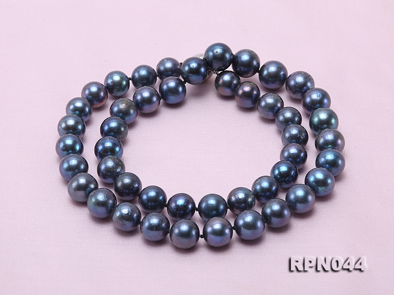 10mm Cultured Black Pearl Necklace with Sterling Silver Clasp big Image 2