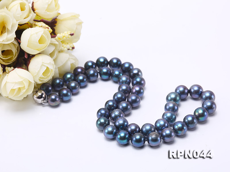 10mm Cultured Black Pearl Necklace with Sterling Silver Clasp big Image 3