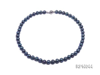 10mm Cultured Black Pearl Necklace with Sterling Silver Clasp RPN044 Image 4