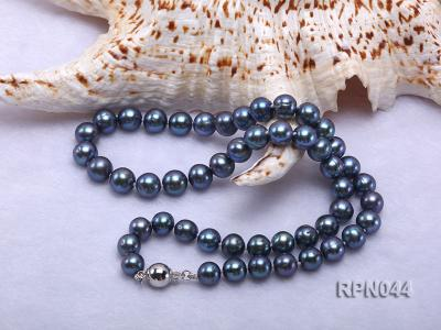 10mm Cultured Black Pearl Necklace with Sterling Silver Clasp RPN044 Image 6