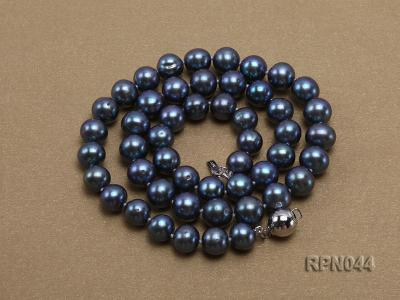 10mm Cultured Black Pearl Necklace with Sterling Silver Clasp RPN044 Image 7