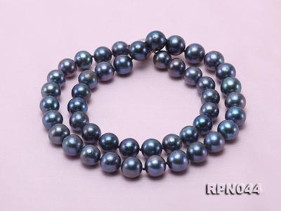 10mm Cultured Black Pearl Necklace with Sterling Silver Clasp RPN044 Image 2