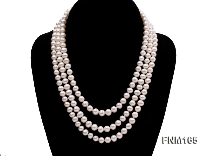 3 strand 7-8mm white round freshwater pearl necklace with sterling sliver clasp  big Image 1