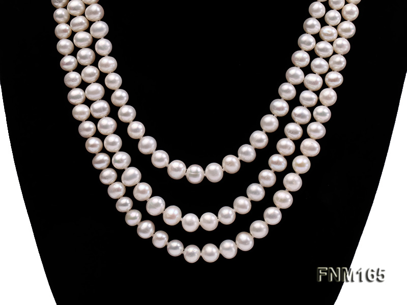 3 strand 7-8mm white round freshwater pearl necklace with sterling sliver clasp  big Image 2
