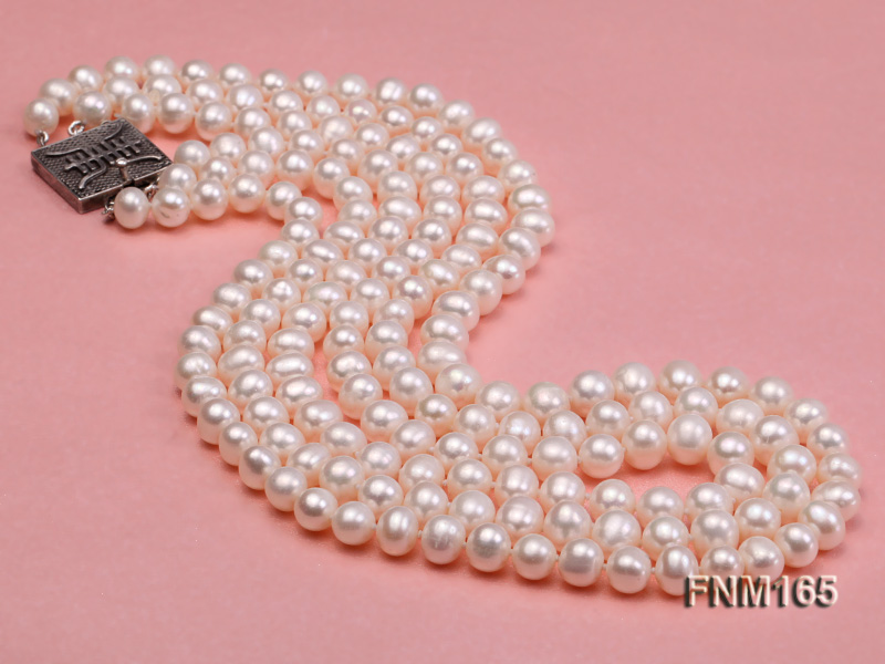 3 strand 7-8mm white round freshwater pearl necklace with sterling sliver clasp  big Image 3