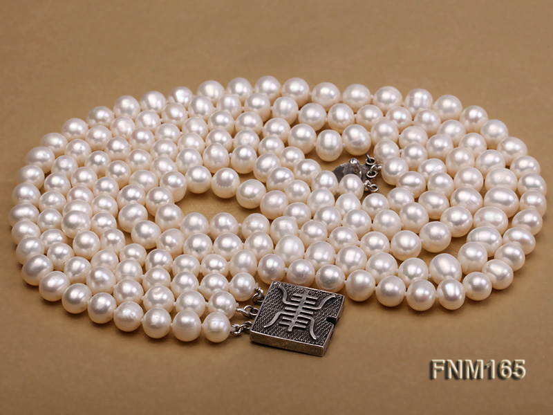 3 strand 7-8mm white round freshwater pearl necklace with sterling sliver clasp  big Image 4
